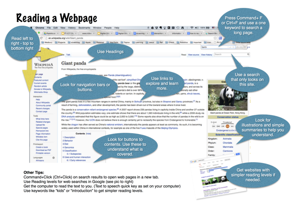 Reading a webpage pages